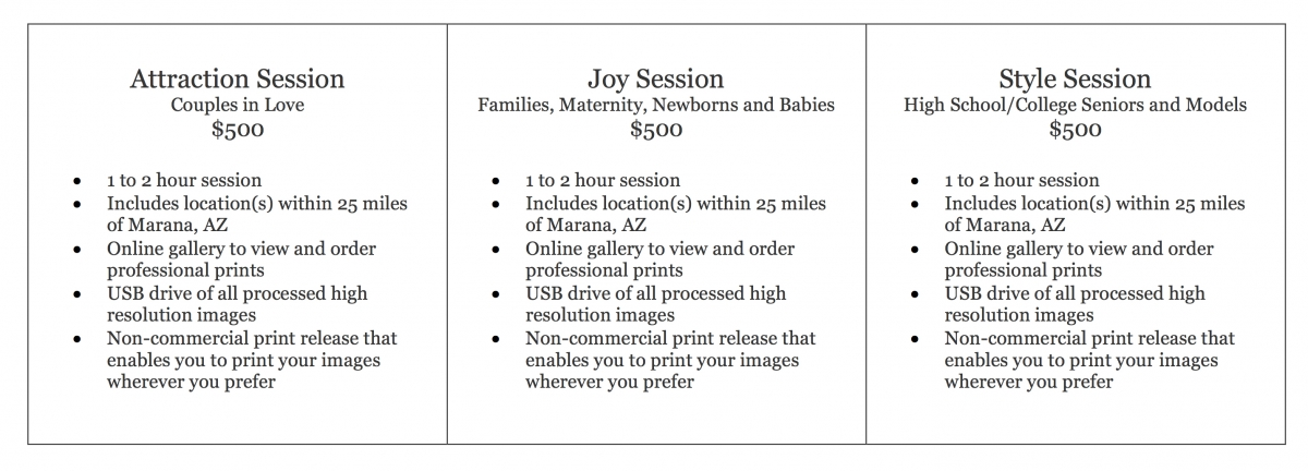 Tucson Portrait Photography Prices