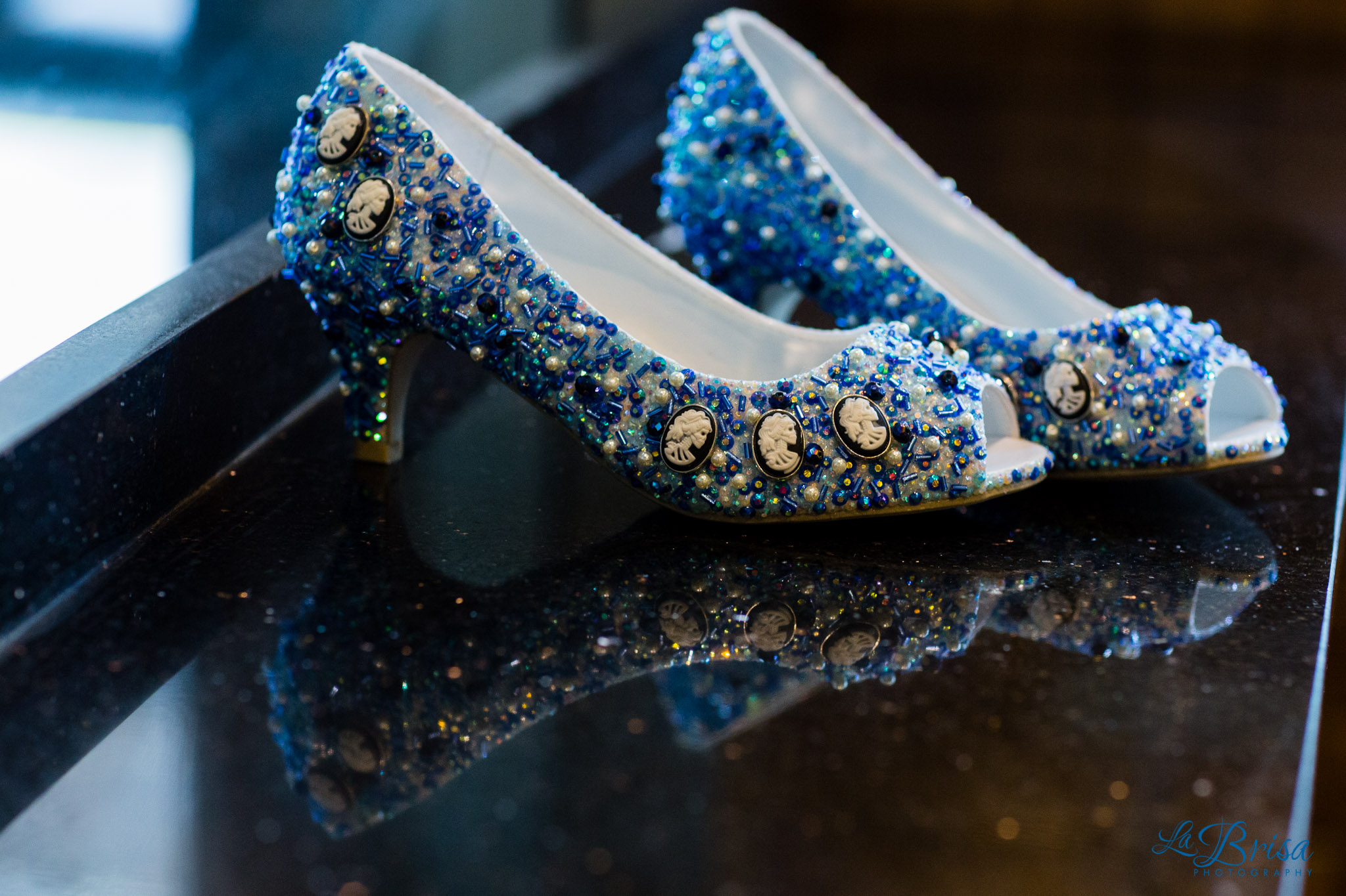 Beaded Wedding Shoes Skulls Blue La Brisa Photography Chris Hsieh