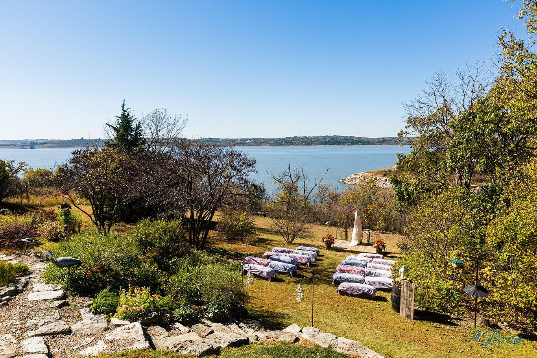backyard lakeside wedding ceremony