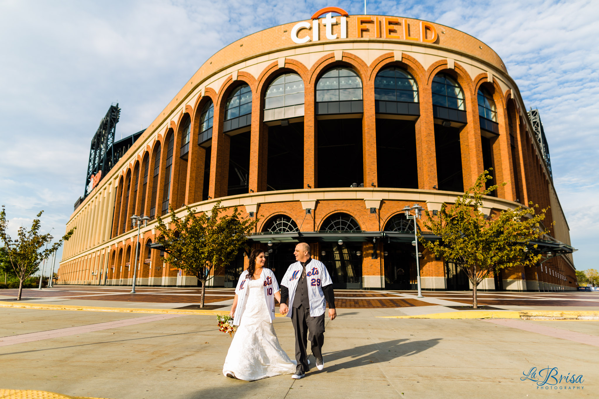 Bride Groom Citi Field Wedding Portrait