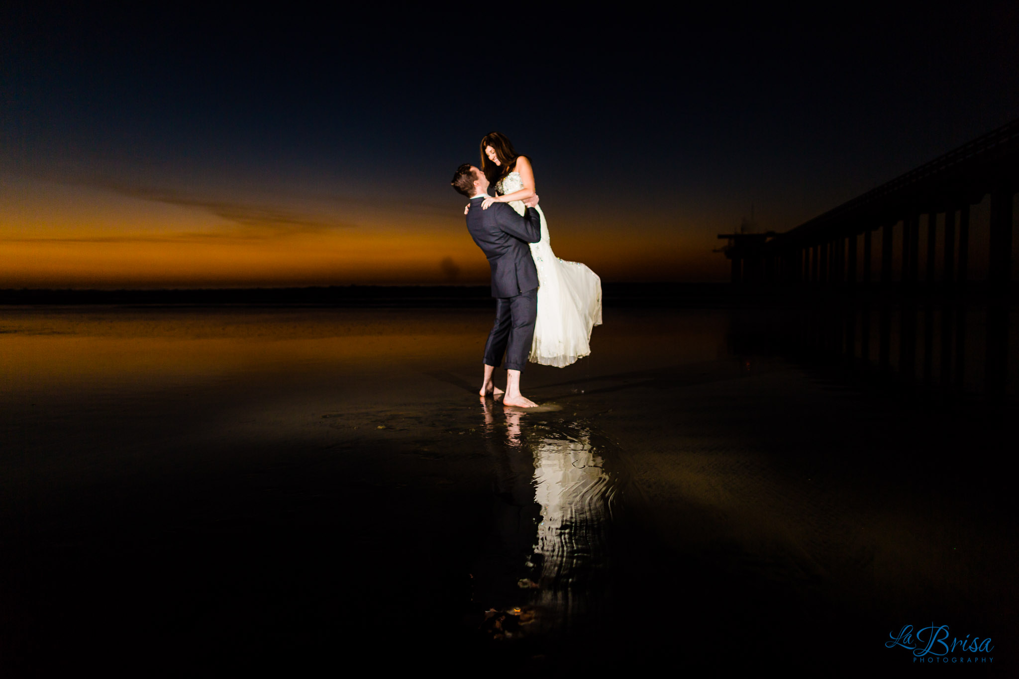 Bride Groom Scripps Pier Sunset