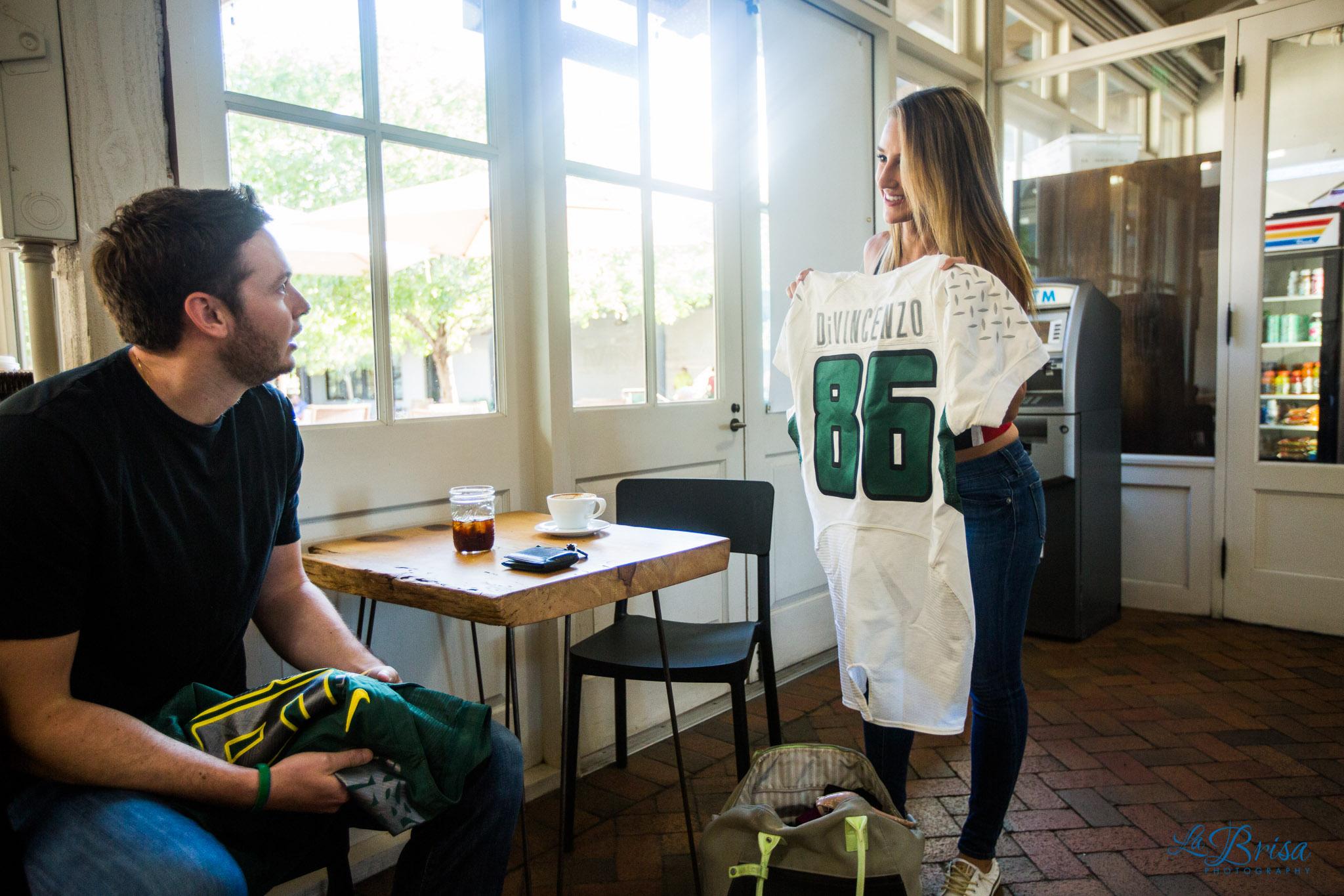 Presta Coffee Engagement College Attire Surprise