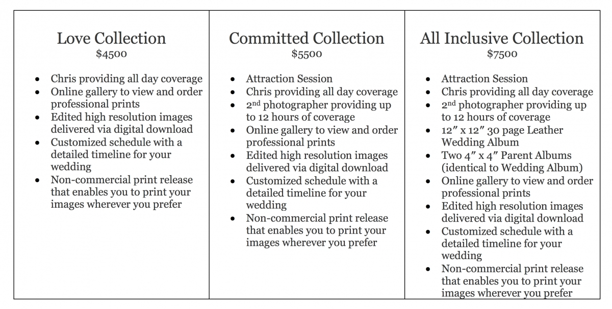 Tucson Wedding Photographer Pricing