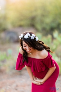 red maternity dress flower crown laughing