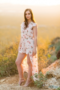 high low dress backlit sunset gates pass senior portrait pose