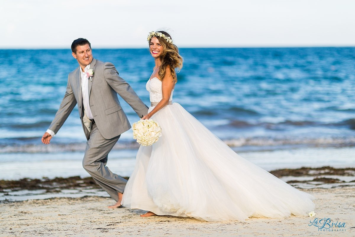 Bride Groom Cancun Destination Wedding Running Beach Flower Crown