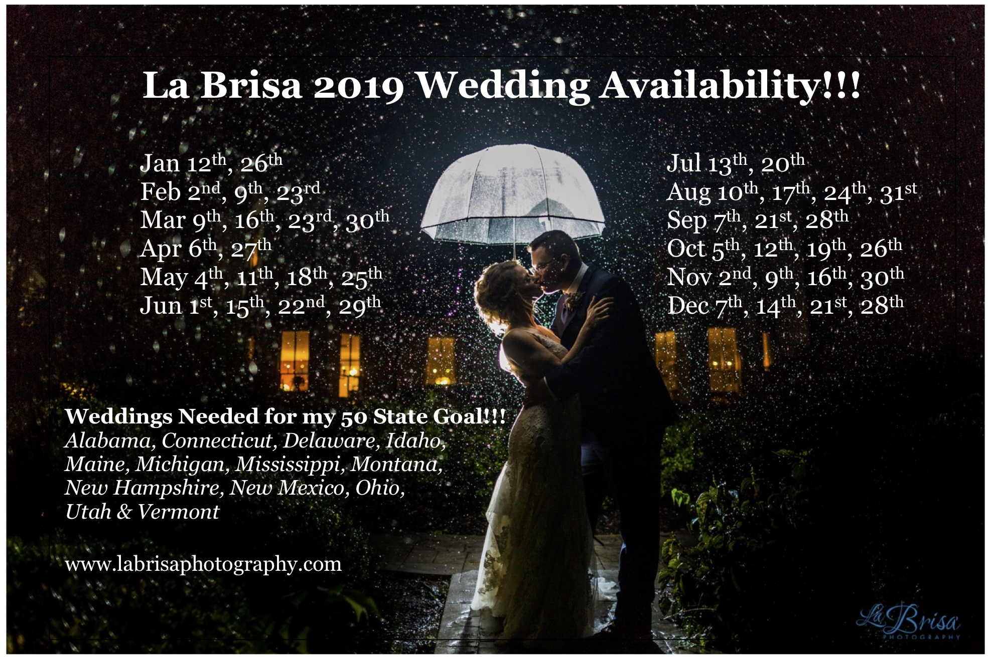 2019 Wedding Availbility
