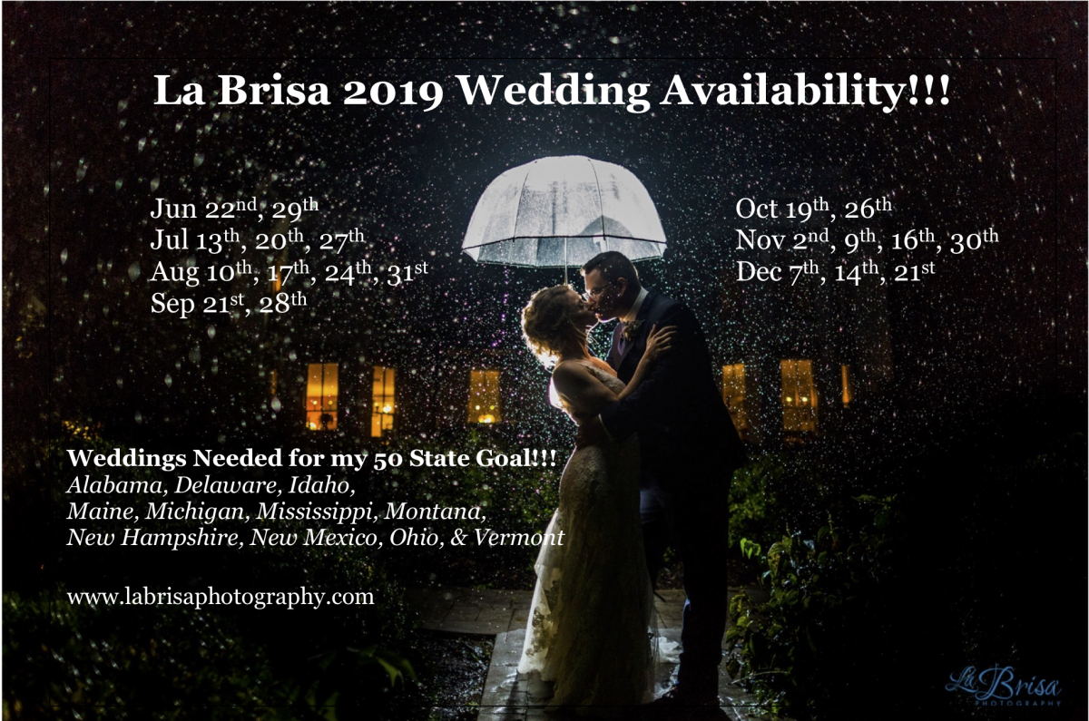 2019 La Brisa Wedding Availability