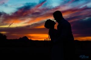 Glover Ranch wedding sunset silhouette