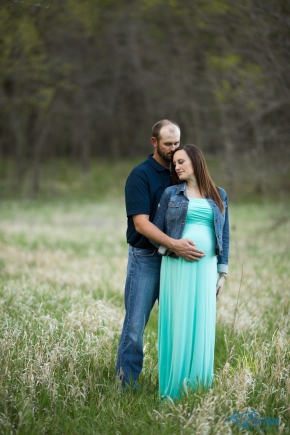 Maternity Open Field Turquoise Dress Jean Jacket Open Field Kansas Emma York La Brisa Photography