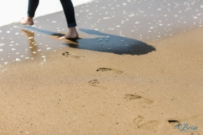 Footprints into ocean at Baker Beach La Brisa Photography Chris Hsieh