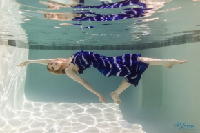 Underwater Model Blue Dress