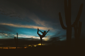 Yoga Silhouette Saguaro Sunset